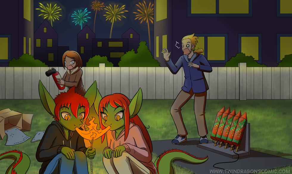 Twin Dragons comic new year page by Robin Dassen